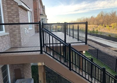 brand new deck build with black railing
