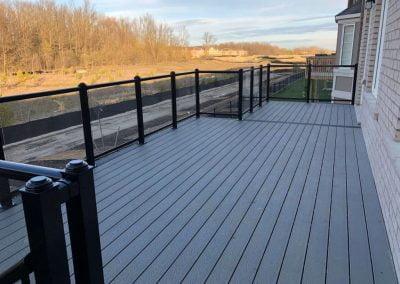 top view of black railing deck